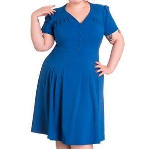 Hell Bunny Cobalt 1940s Moira Dress